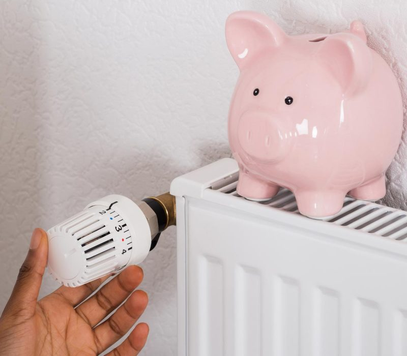 Close-up Of Woman's Hand Adjusting Thermostat With Piggy Bank On Radiator
